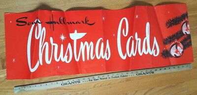 "Vintage mid-century LARGE Hallmark store wall banner, Christmas Cards 39½"" x 12½"