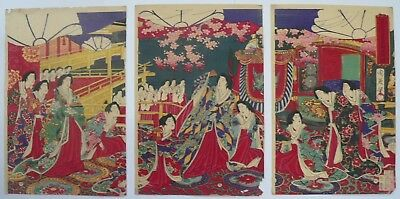 1878 Japanese Original Antique Old Woodblock Print Triptych Of Beauties