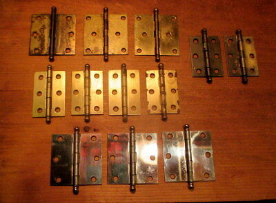 """Lot of 12 Small Ball Top Hinges 2"""" x 2-1/2"""" Brass Sets"""