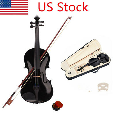 New Acoustic Violin 4/4 Full Size with Case and Bow Rosin Wood Bridge US