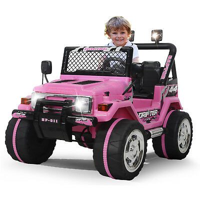Kids Ride on Toys 12v Electric Cars Battery Wheels Jeep Pink Gift W/ Safty belt