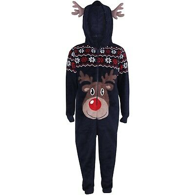 Kids Girls Boys Reindeer Xmas Costume Extra Soft Fluffy A2Z Onesie One Piece