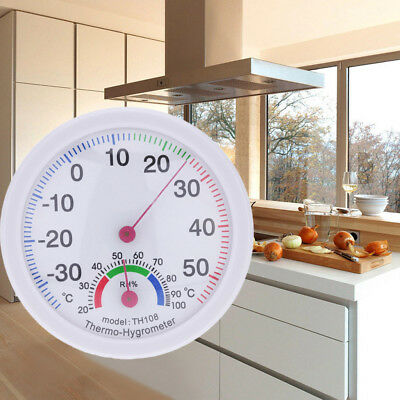 Indoor Outdoor Thermometer Temperature Meter Hygrometer Humidity Clock-shaped