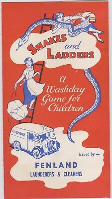 Advertising Snakes & Ladders 1950`s Fenland Launderers From Spalding Collection