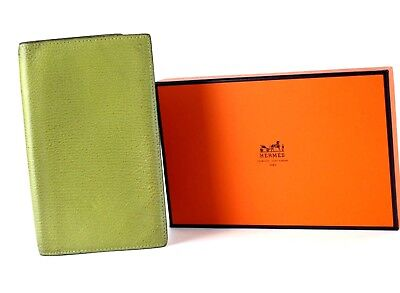 Auth Hermes Agenda Green Leather Day Planner Organizer Diary Address Cover w/Box