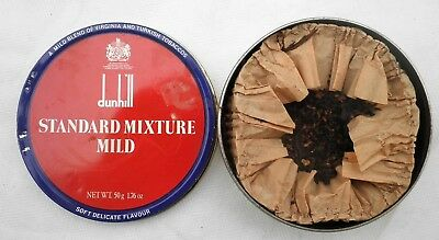 Scatola Latta Dunhill Standard Mixture Pipe Tobacco Vintage Piena 1/4 Filled