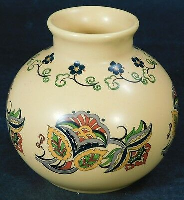 Vintage Round Small Poole Pottery Hand Decorated Vase