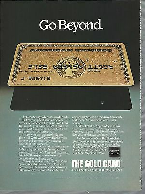 1983 AMERICAN EXPRESS advertisement, Canadian advert for Gold AmEx credit card