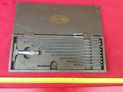 Vintage Moore & Wright Depth Micrometer 0 - 8 Inch Fair to Good Condition Boxed