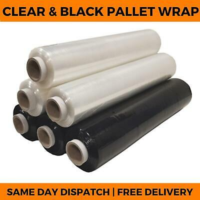 PALLET WRAP - Clear & Black Stretch Cling Shrink Wrap Film - Strong Cast Packing