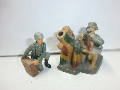 Convolute 2 Old Hausser Elastolin Ground Soldiers with Heavy Mortar 7.5 Cm