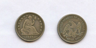 US Better Coin 1840-O New Orleans  Mint Seated Liberty Quarter Dollar SILVER