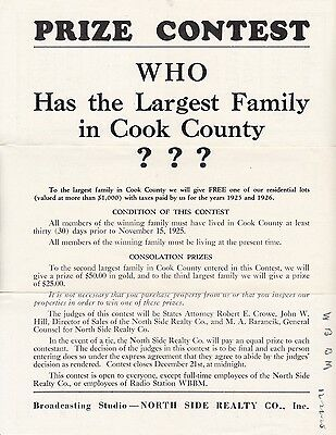 Contest flyer, largest family in Cook County, Illinois, WBBM radio, 1925