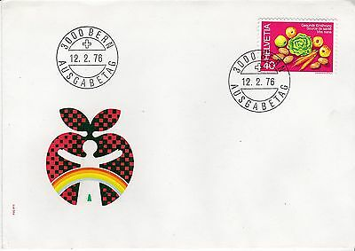 First day cover, Switzerland, Scott #611, fruits & vegetables, 1976