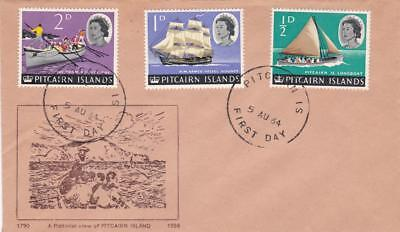 First day cover, Pitcairn Island, Scott #39-41, definitives, 1965