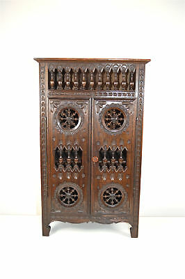 Original antique French miniature carved chestnut apprentice cupboard cabinet