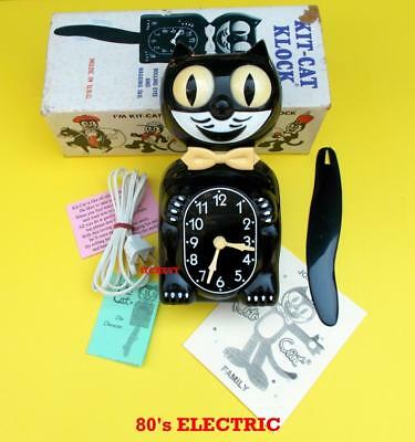 VINTAGE 80's ELECTRIC-BLACK KIT CAT KLOCK-KAT CLOCK ORIGINAL MOTOR REBUILT+BOX