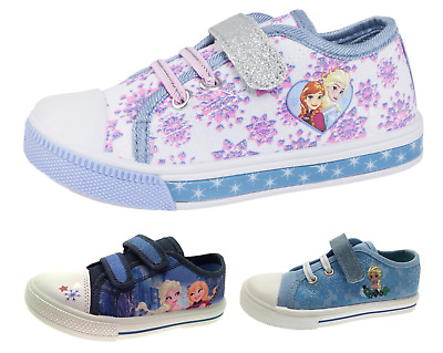 Girls Frozen Anna Elsa Plimsolls Skate Pumps Trainers Kids Character Shoes Size