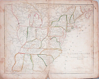 -Rare- 1824 -Cummings Atlas- Vintage Book w/Double-Page Maps