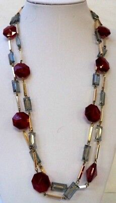"""Stunning Vintage Estate Gold Tone Red Bead 54"""" Necklace 5104P"""