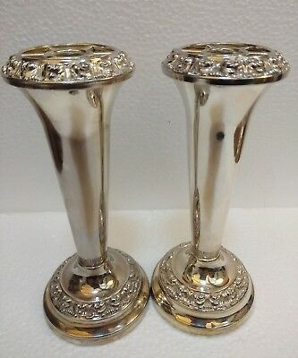 "Pair 14cm / 5.5"" Ianthe Silver Plated Vases"