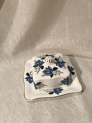 Queen Anne Bone China Covered Butter Dish, Blue Roses, Gold Trim, Scallop Edges