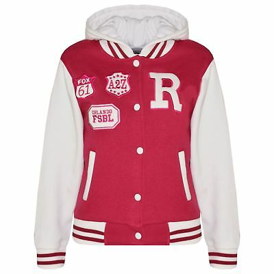 Kids Girls Designer R Fashion Baseball Pink Hooded Jacket Varsity Hoodie 2-13 Yr