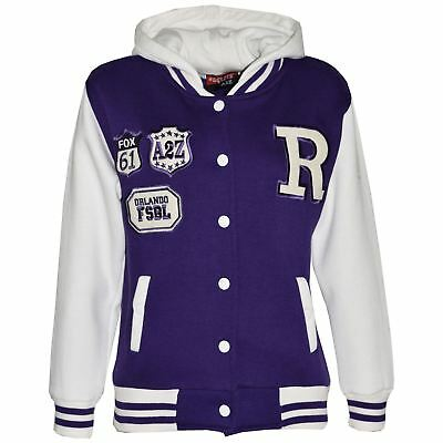 Kids Girls Designer R Fashion Baseball Purple Hooded Jacket Varsity Hoodie 2-13Y