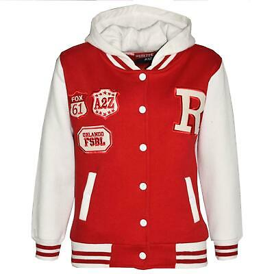 Kids Girls Boys Designer R Fashion Baseball Red Hooded Top Jacket Varsity Hoodie