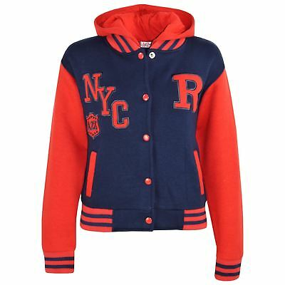 Kids Girls Boys R Fashion NYC Baseball Navy & Red Hooded Jackets Varsity Hoodies