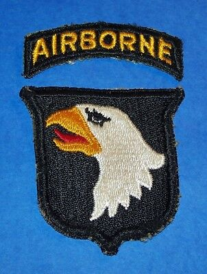 ORIGINAL CUT-EDGE WW2 101st AIRBORNE DIVISION TYPE 1 PATCH + TAB (GLOWS)