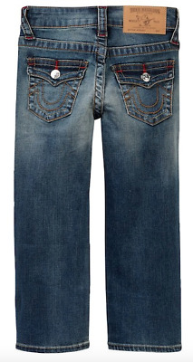 True Religion Little Boys Denim Jeans Straight Leg Stretch Blue Grease 4 4T 5T 6