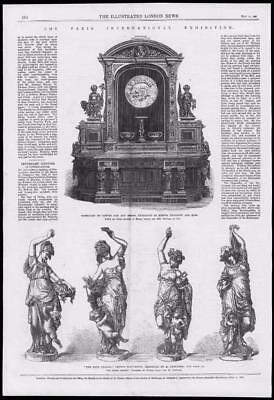 1867 Antique Print - FRANCE PARIS EXHIBITION BRONZE ORNAMENTS STATUE CLOCK (187)