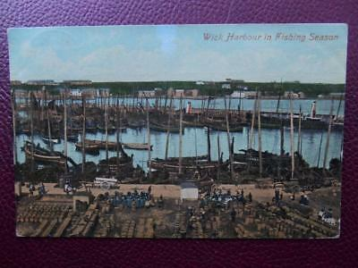 Harbour in Fishing Season WICK Nr Thurso Caithness 1912 Boats Fish Barrels