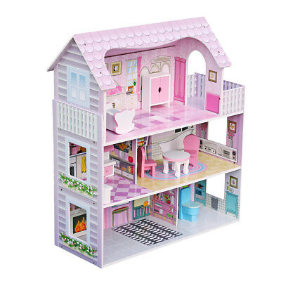 Wooden Kids Doll House W/ Furniture & Staircase Fits Barbie Dollhouse Xmas Gift