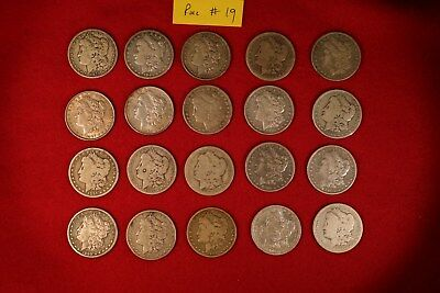 Roll of 20 Morgan Silver Dollars 1878-1904  20 different, circulated  roll# 19