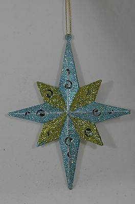 Glittered Green and Blue Starburst Christmas Tree Ornament new holiday