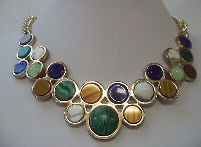 """Stunning Modern Estate Gold Tone Multicolored Cab 20 1/8"""" Necklace!!! 5236D"""