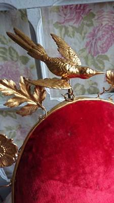 SUBLIME ANTIQUE FRENCH BOUDOIR JEWELLERY BIJOU DISPLAY CUSHION & TOLE BIRD c1880