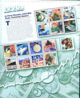 US Sheet 33¢ Stamps (15) 1990s CELEBRATE THE CENTURY MNH #3191