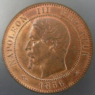 France 1856A 10 Centimes Red and Brown