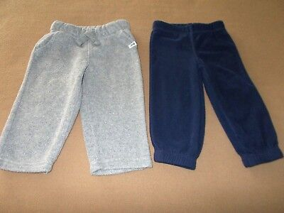 Toddler Boys'12 Mo.Lot of 2,Carter's Fleece Bottoms, Gray, Navy Blue, VGUC