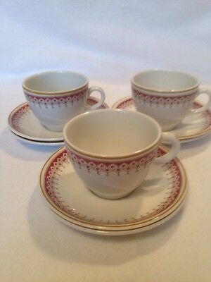 Vintage Ridgway Coffee Cups / Demi Tasses And Saucers. Nine Pieces.