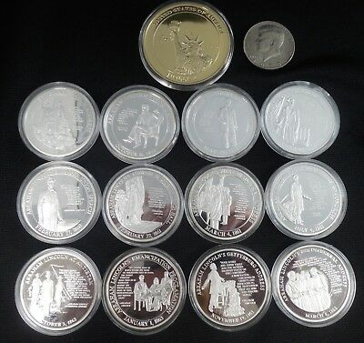 13 Abe Lincoln Medals - 12 Silver Plate - 1 Gold Plate - #435L