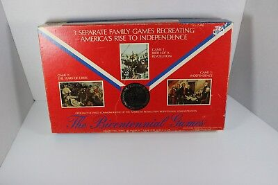 """Vintage 1975 Coach House """"The Bicentennial Games"""" 3 Board Games In 1"""