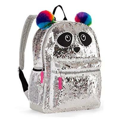 "16"" Full Size Wonder Nation Panda 2 Way Sequin Critter School Backpack Kids"