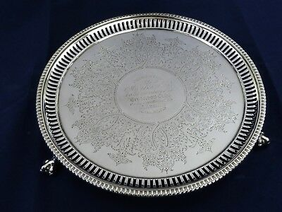 Fine Victorian 20.7cm diam SILVER SALVER, London 1878 H Holland WAITER TRAY 300g