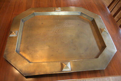 Large Antique Vtg Brass Tray   Arts & Crafts  - Mission - Neo Gothic