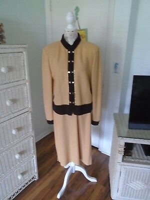 ST. JOHN Collection by Marie Gray Pre-owned 2 Piece Muted Gold Suit Sizes 14/12/