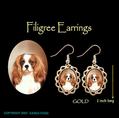 CAVALIER KING CHARLES SPANIEL Fawn - GOLD FILIGREE EARRINGS Jewelry